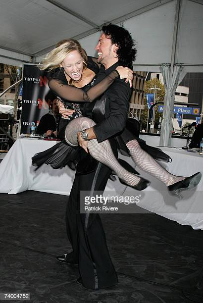 Radio and television personality Fifi Box dances with her partner of the TV series 'Dancing With The Stars' Paul Green in Martin Place on April 27...