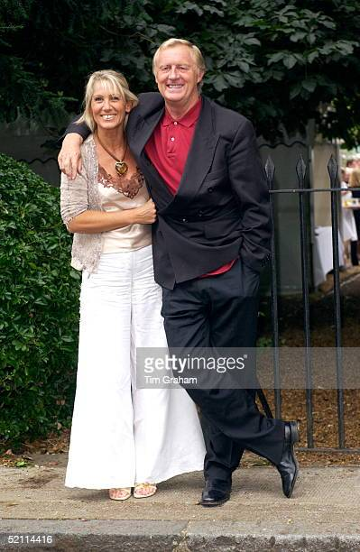 Radio And Television Presenter Dj Chris Tarrant And His Wife Indrid Wearing White Linen Trousers Joins Other Celebrities For A Party In Carlyle...