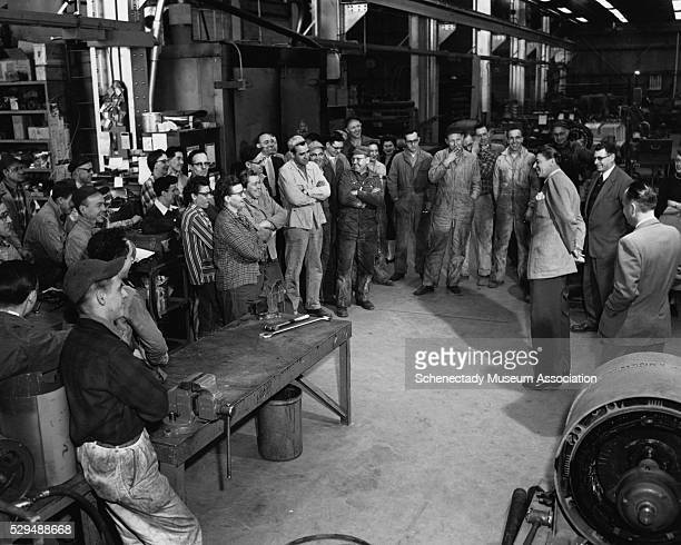 Radio and television star Ronald Reagan tours the GE plant in Schenectady, New York. Reagan was the spokesman for GE from 1952-1962, and was the host...