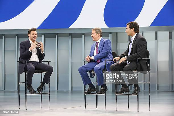 Radio and telivision personality Ryan Seacrest speaks with Bill Ford Ford Motor Company's executive chairman and Mark Fields Ford's President and CEO...