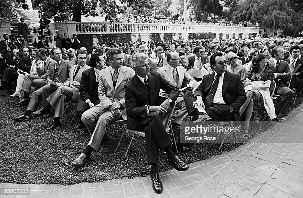 Radio and TV evangelist and head of the World Wide Church of God Garner Ted Armstrong is photographed during a 1975 Pasadena California Ambassador...