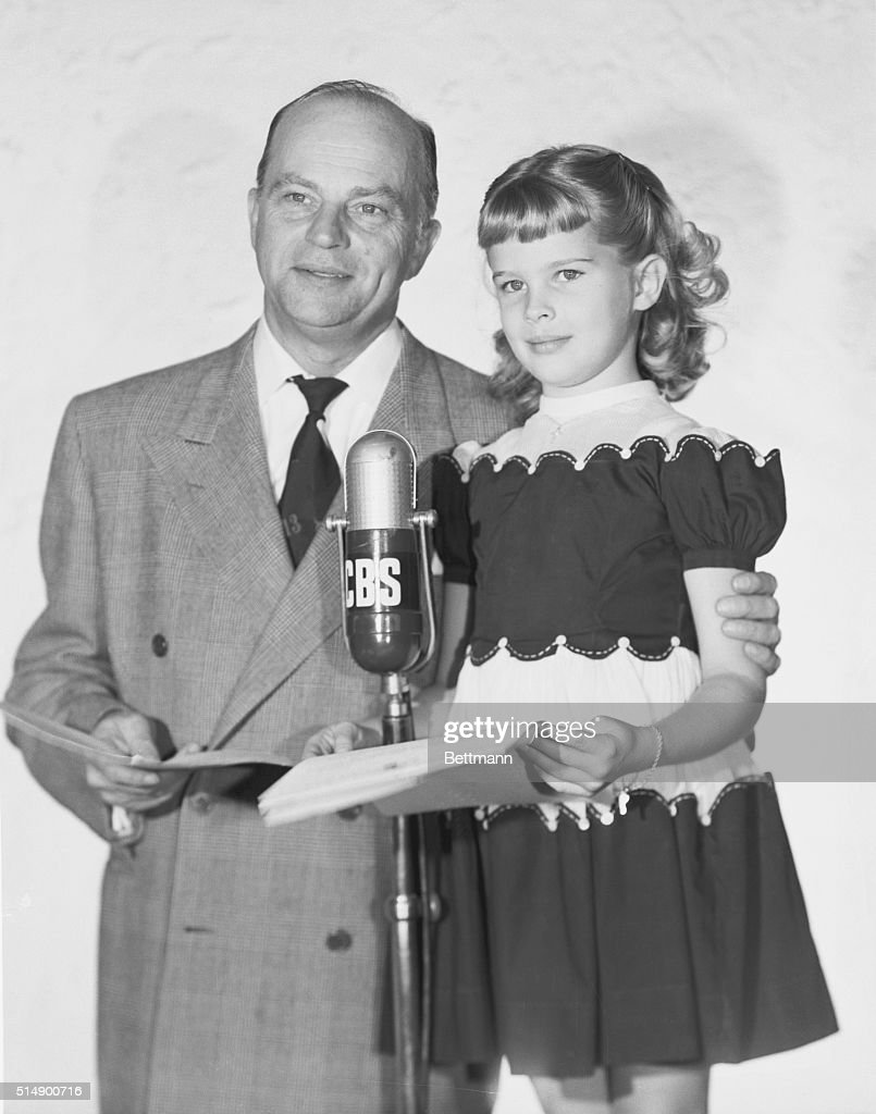Radio Entertainer Edgar Bergen with Daughter Candice at Microphone : News Photo