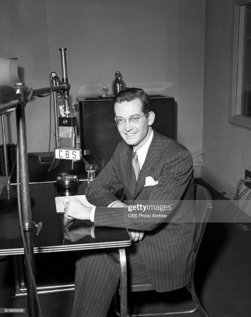 CBS Radio announcer Lee Vickers is photographed working at