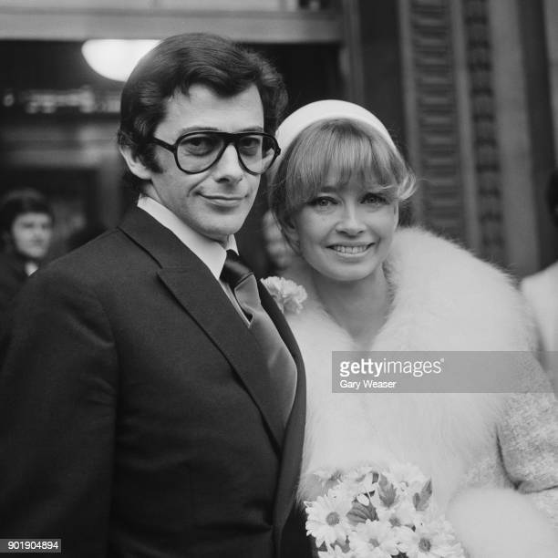 BBC radio announcer Maggie Clews and screenwriter Brian Degas leave Marylebone Registry Office in London after their wedding 30th November 1968