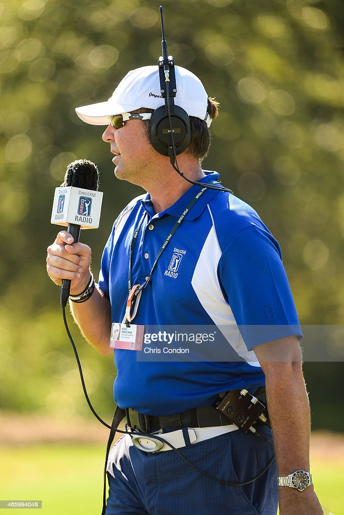 Radio Announcer Mark Immelman broadcasts live coverage on SiriusXM Radio during the final round of the Web.com Tour Championship at TPC Sawgrass Dye's Valley Course on September 21, 2014 in Ponte Vedra Beach, Florida.