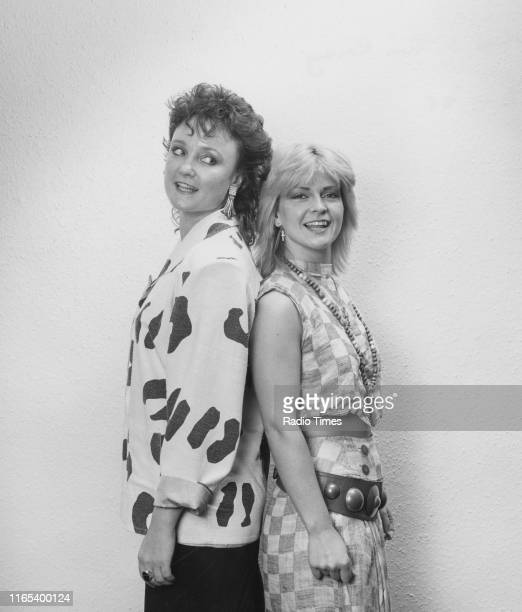 Radio broadcaster Janice Long posing with singer Toyah Willcox August 1985