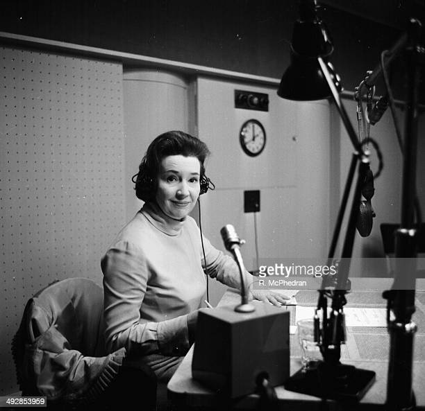 Radio broadcaster Jean Metcalfe recording her final session of 'Forces Favourites' for the BBC London April 5th 1964