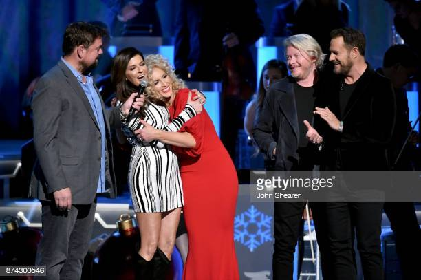 Radio Broadcaster Storme Warren Karen Fairchild Kimberly Schlapman Jimi Westbrook and Philip Sweet of Little Big Town perform onstage for CMA 2017...