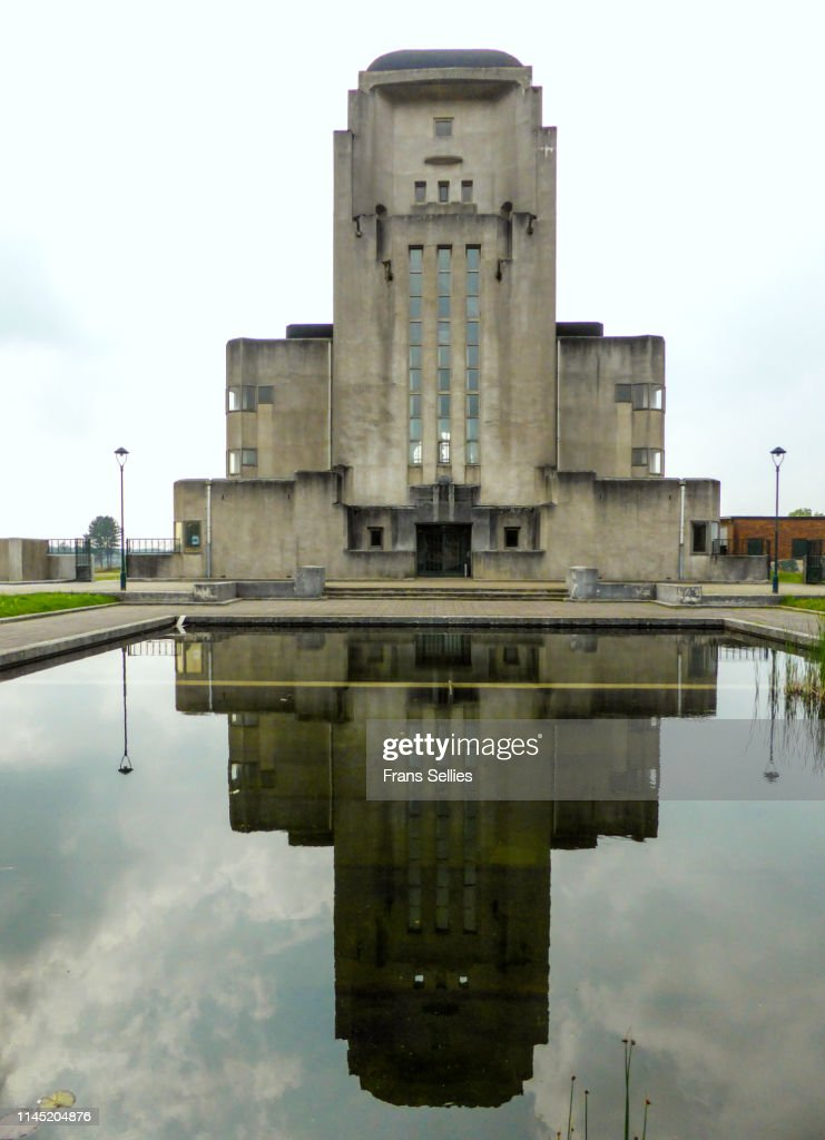 Radio Building with reflections at Radio Kootwijk, the Netherlands : Stockfoto
