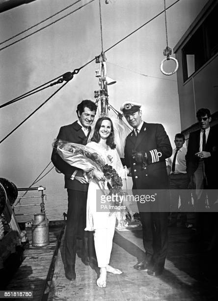 Radio Caroline disc jockey Mick Luvzit of Toronto Canada and his bride Janet Terret of Manchester who runs a boutique in Douglas Isle of Man pictured...