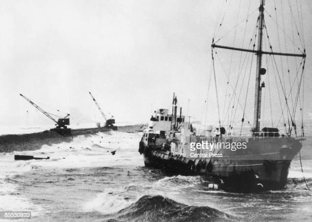 Radio Caroline's pirate radio ship 'MV Mi Amigo' runs aground at FrintononSea on the Essex coast during a storm 20th January 1966