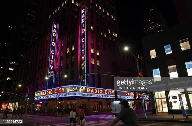 Radio City Music Hall facade is pictured after the lights came back on after a major power outage affected parts of New York City on July 13, 2019. -...