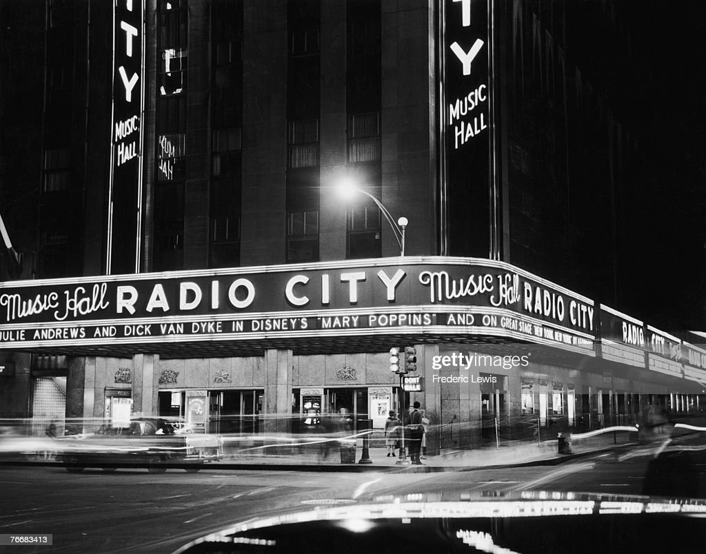 Radio City Music Hall in the Rockefeller Center, New York, 1964. Currently showing is Disney's 'Mary Poppins'.