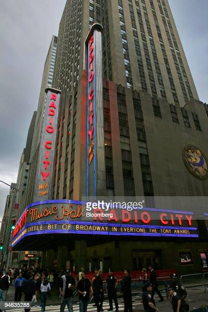 Radio City Music Hall is lit up for the 61st Annual Tony Awards in New York on Sunday June 10 2007 Spring Awakening'' a Broadway show about teenage...