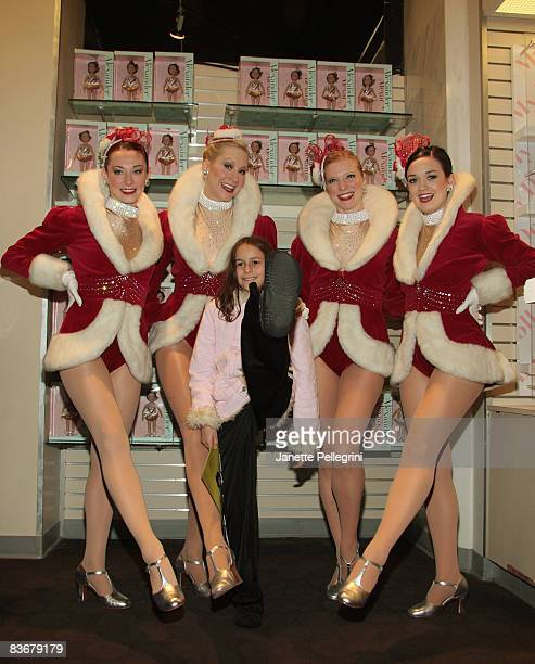 Radio City Rockettes Corinne Tighe Jill Wolins Jessica Pack and Sagan Rose with Emily Fox 9 yrs old from North Carolina attend the launch of Madame...