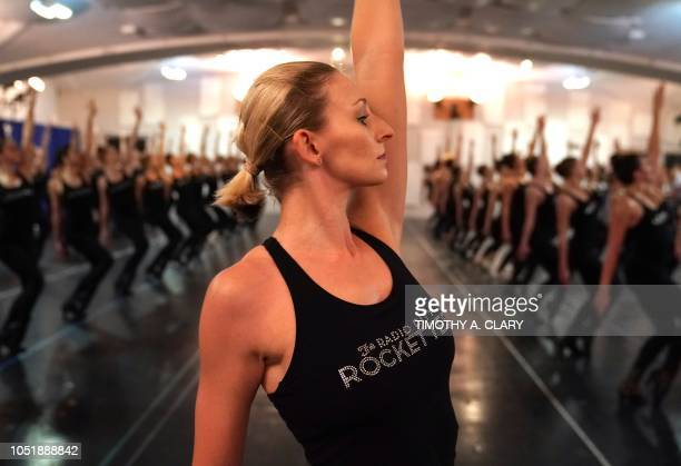 Radio City Rockettes perform during a dress rehearsal for the finale of Christmas Lights in New York October 11 2018 The rehearsal was part of the...