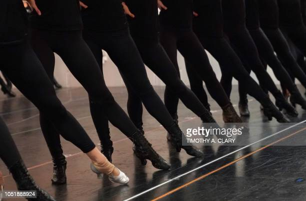TOPSHOT Radio City Rockettes perform during a dress rehearsal for the finale of Christmas Lights in New York October 11 2018 The rehearsal was part...