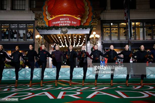 Radio City Rockettes perform during the 93rd Annual Macy's Thanksgiving Day Parade rehearsals at Macy's Herald Square on November 26 2019 in New York...