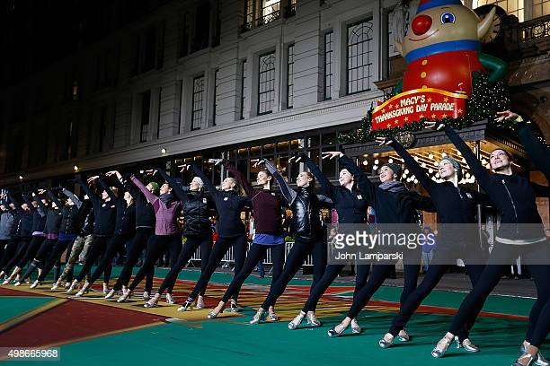Radio City Rockettes performs during 89th Annual Macy's Thanksgiving Day Parade Rehearsals Day 2 on November 24 2015 in New York City