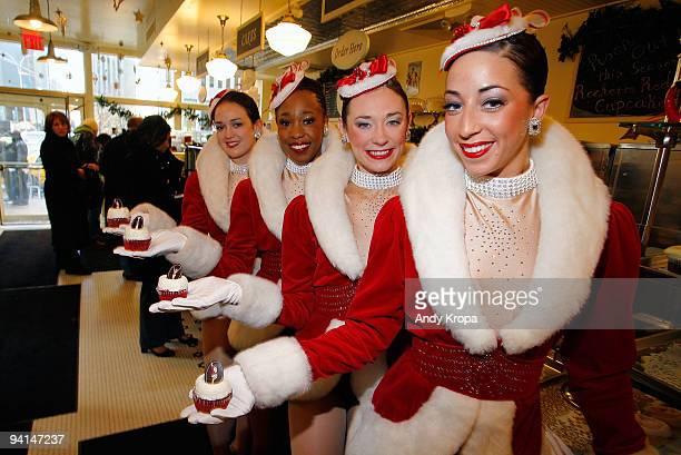 Radio City Rockettes Sagan Rose, Lisa Lewis, Corinne Tighe and Kate Hamrah attend the Rockette red velvet cupcake kick off at Magnolia Bakery...