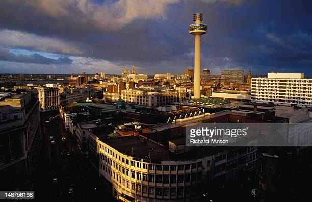 radio city tower and liverpool city centre. - liverpool england stock pictures, royalty-free photos & images