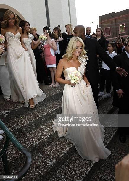 Radio cohost Jackie O arrives for the wedding of 2Day FM radio presenter Kyle Sandilands and aspiring pop star Tamara Jaber at St Brigids...