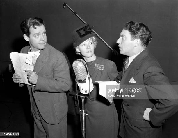 Radio comedy program Blondie Hollywood California Pictured left to right Arthur Lake Penny Singleton and Hanley Stafford January 8 1940
