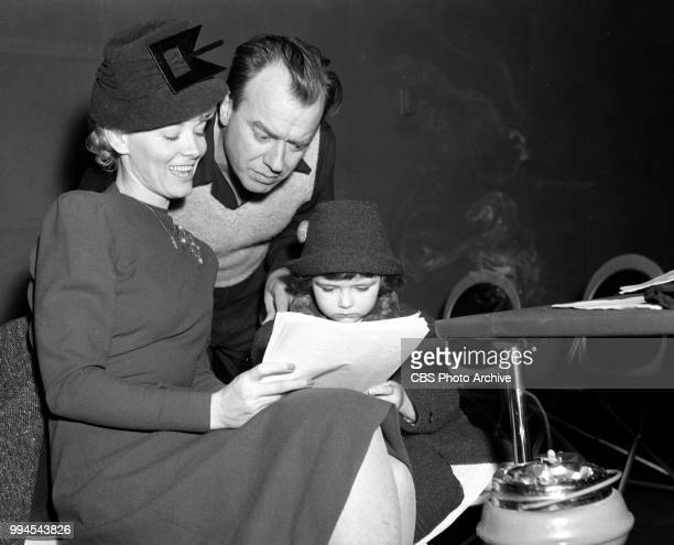 Radio comedy program Blondie Hollywood California Pictured Penny Singleton and husband writer producer Ashmead Scott and their daughter Dorothy...