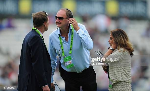 BBC radio commemtator Jonathan Agnew chats with Phil Tufnell before the first Natwest One Day International Series between England and Sri Lanka at...