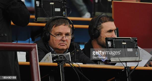 Radio commentator Alan Green looks on before the Barclays Premier League match between Aston Villa and Tottenham Hotspur at Villa Park on October 20...