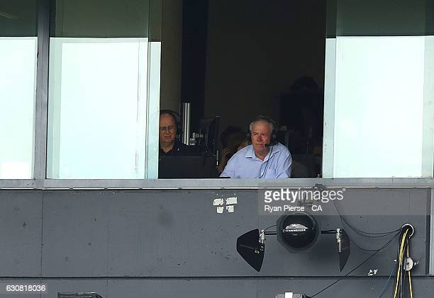 Radio commentator Jim Maxwell look on during day one of the Third Test match between Australia and Pakistan at Sydney Cricket Ground on January 3...