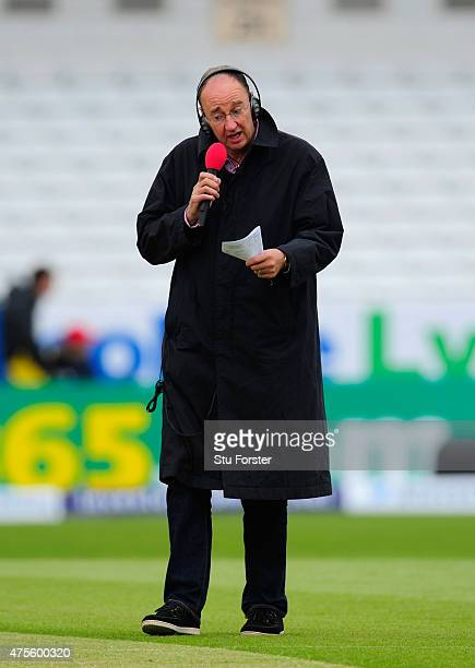 Radio commentator Jonathan Agnew at work before day five of the 2nd Investec test match between England and New Zealand at Headingley on June 2 2015...