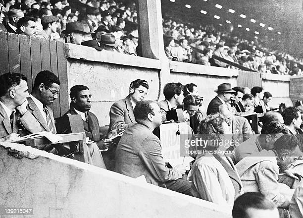 Radio commentators in the stands at Wembley Stadium during the London Olympic Games August 1948