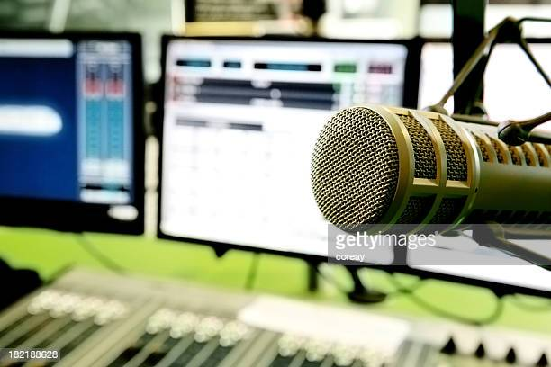 radio computer and mixer system with air microphone - post-production stock pictures, royalty-free photos & images