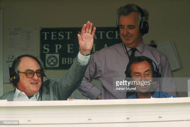 BBC radio cricket commentators Henry Blofeld Peter Baxter and David Lloyd during the 5th Test between England and the West Indies at Trent Bridge...