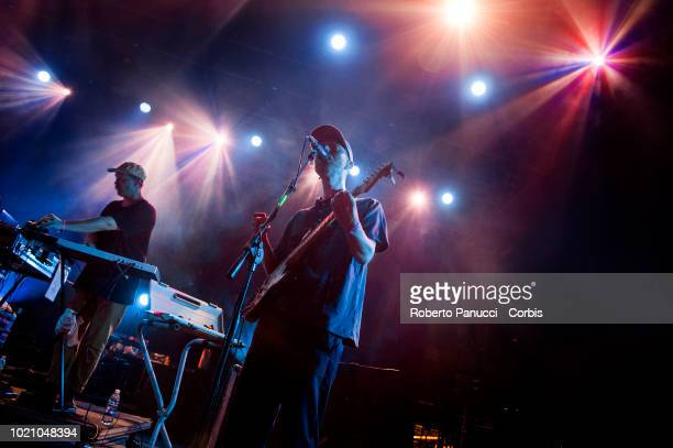 Radio Dept perform on stage during Ypsigrock Festival on August 10 2018 in Castelbuono Palermo Italy