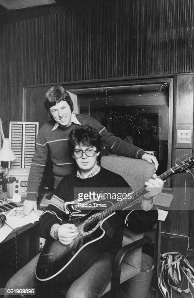 Radio disc jockey Mike Read and presenter John Craven pictured in a studio photographed for the Radio Times 'John Craven's Back Page' feature in...