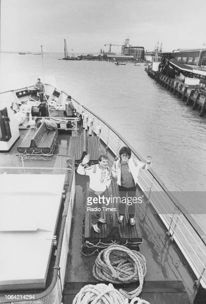 Radio disc jockeys Peter Powell and Mike Read pictured on the deck of a boat photographed for Radio Times in connection with the BBC Radio 1 show...