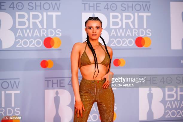 Radio DJ Daisy Maskell poses on the red carpet on arrival for the BRIT Awards 2020 in London on February 18 2020 / RESTRICTED TO EDITORIAL USE NO...