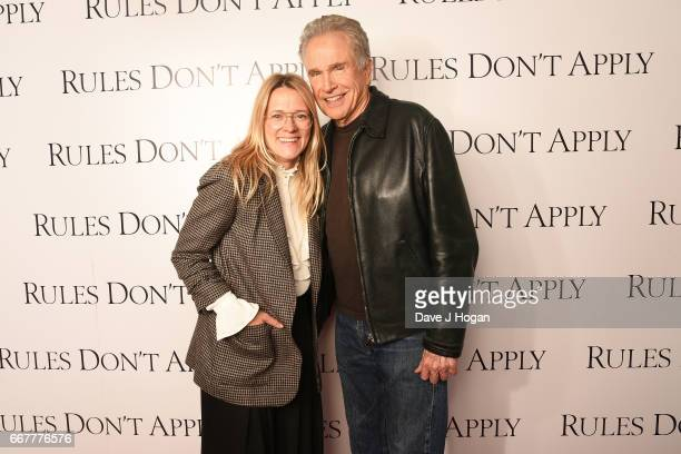 Radio DJ Edith Bowman and actor Warren Beatty attend the 'Rules Don't Apply' screening and QA at Picturehouse Central on April 12 2017 in London...