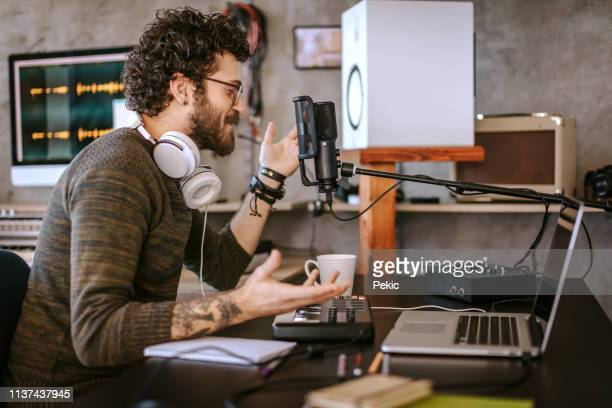 radio dj working at office - radio stock pictures, royalty-free photos & images