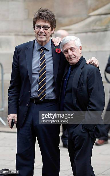 Radio DJ's Mike Read and Tony Prince arrive at Leeds Cathedral for the funeral service of Sir Jimmy Savile on November 9 2011 in Leeds England...
