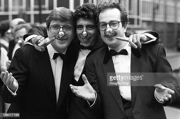 BBC radio DJ's Simon Bates Gary Davies and Steve Wright promote Comic Relief's Red Nose Day on March 10 1989