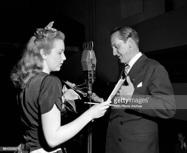 Radio drama anthology Screen Guild Players and its adaptation of the 1935 theatrical film The Good Fairy Pictured is actor Fredric March and actress...