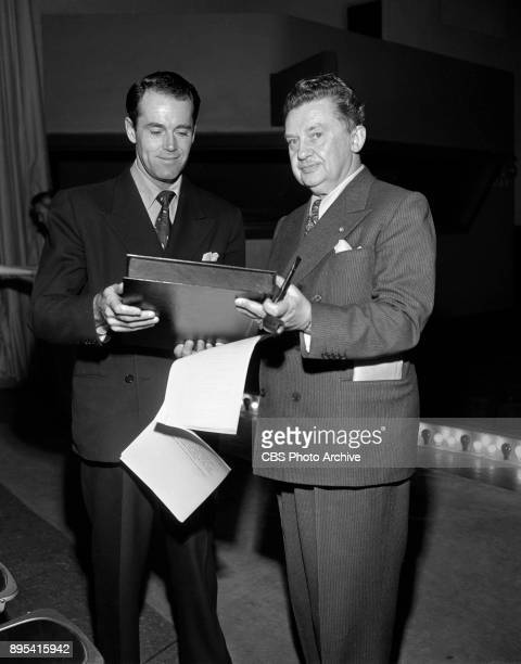 Radio dramatic anthology program The Camel Screen Guild Players during rehearsal of the adaptation of the theatrical film Kitty Foyle Pictured is...