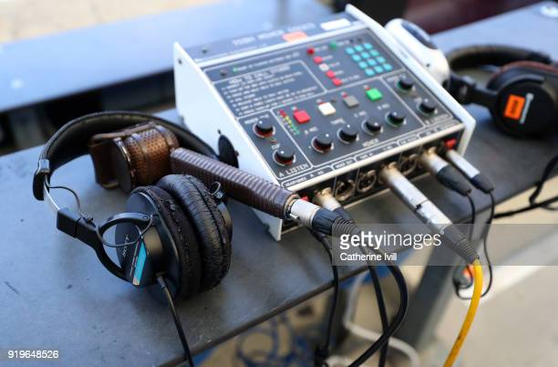 Radio equipment can be seen prior to the Emirates FA Cup Fifth Round match between Brighton and Hove Albion and Coventry City at Amex Stadium on...