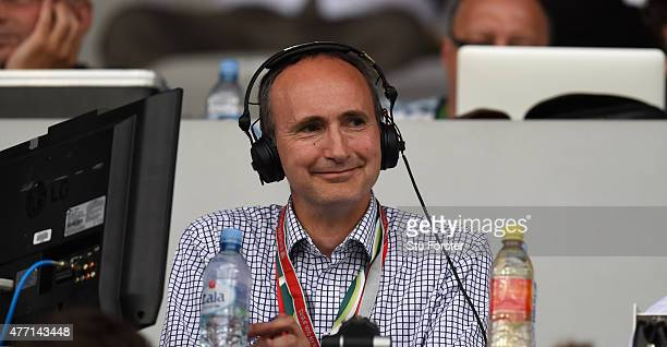 Radio football commentator John Murray looks on before the UEFA EURO 2016 Qualifier between Slovenia and England on at the Stozice Arena on June 14...