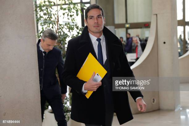 Radio France CEO Mathieu Gallet arrives at Creteil courthouse on November 16 prior to his hearing before the criminal court over alleged favouritism...