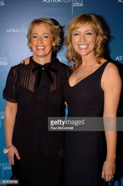 Radio host Amanda Keller and actress Rebecca Gibney attend the 2006 ASTRA Awards at the Hordern Pavilion on April 26 2006 in Sydney Australia