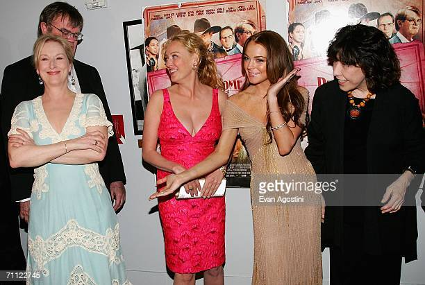 Radio host and actor Garrison Keillor actresses Meryl Streep Virginia Madsen Lindsay Lohan and Lily Tomlin attend the premiere of 'A Prairie Home...